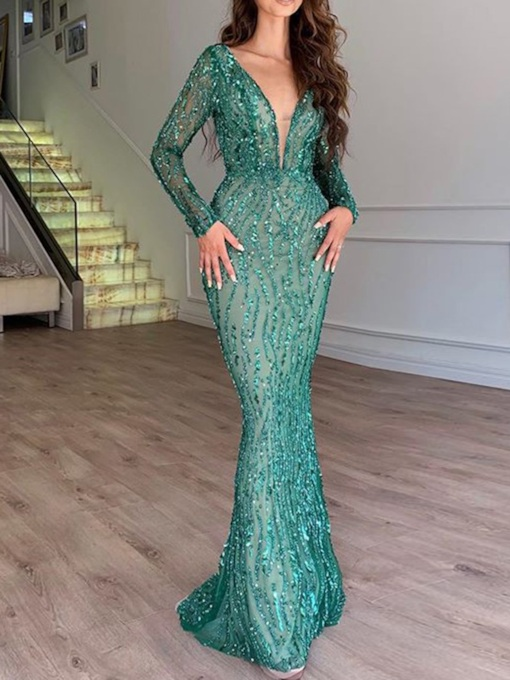 V-Neck Sequins Floor-Length Long Sleeve Bodycon Women's Dress