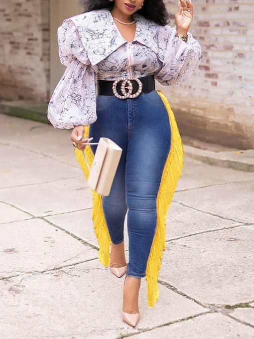 Pencil Pants Color Block Tassel High Waist Women's Jeans
