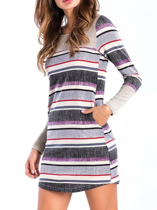 Round Neck Patchwork Above Knee Long Sleeve Pullover Women's Dress