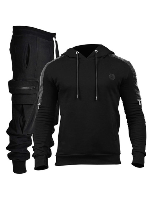 Hoodie Color Block Sports Pocket Fall Men's Outfit