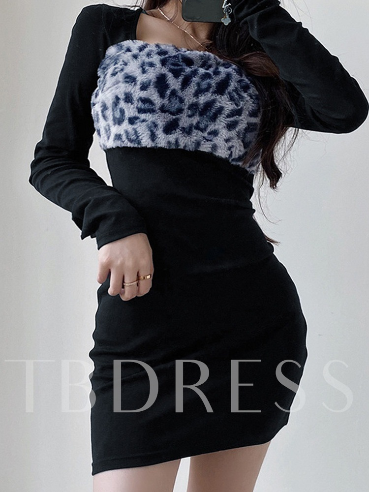 Long Sleeve Square Neck Above Knee Patchwork Fashion Women's Dress