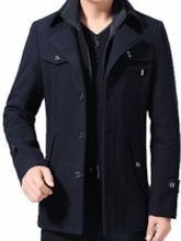 Standard Zipper Plain Winter Men's Coat
