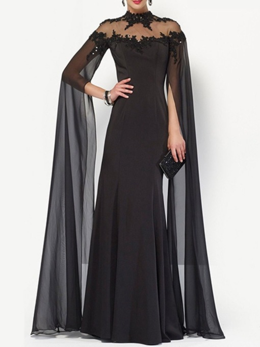 Mesh Long Sleeve Stand Collar Floor-Length Dress Women's Dress