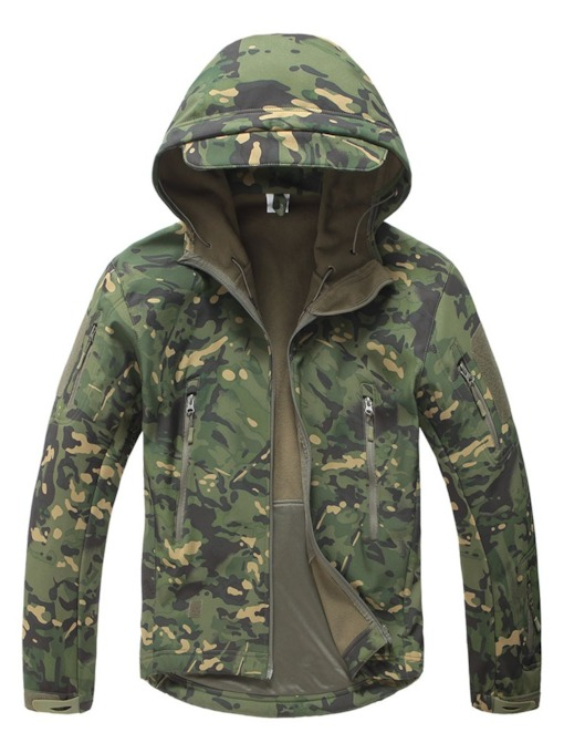 Polyester Hiking Anti-Friction Print Camouflage Single Male Tops