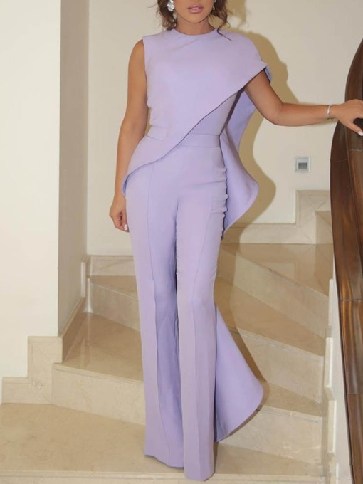 Patchwork Plain Party/Cocktail Full Length Straight Women's Jumpsuit