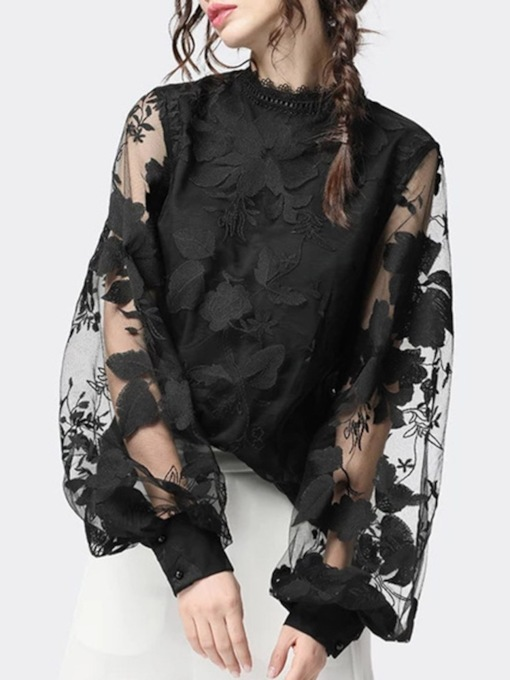 Stand Collar Lace Floral Long Sleeve Women's Blouse