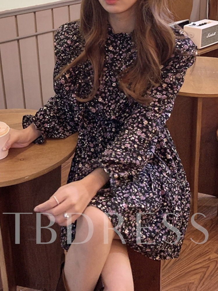 Print Stand Collar Long Sleeve Above Knee Floral Women's Dress