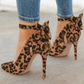 Bow Pointed Toe Stiletto Heel Slip-On Leopard Thin Shoes