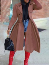 Long Button Lapel Double-Breasted Slim Women's Trench Coat
