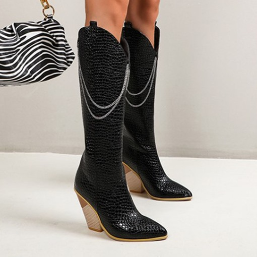 Back Zip Chunky Heel Pointed Toe Western Boots