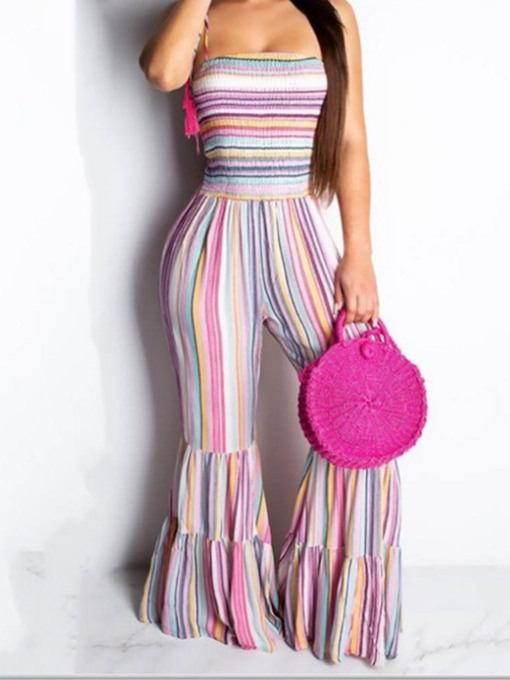 Full Length Casual Travel Look Stripe Print Bellbottoms Women's Jumpsuit