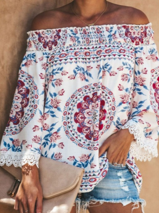 Floral Standard Long Sleeve Off Shoulder Summer Women's T-Shirt