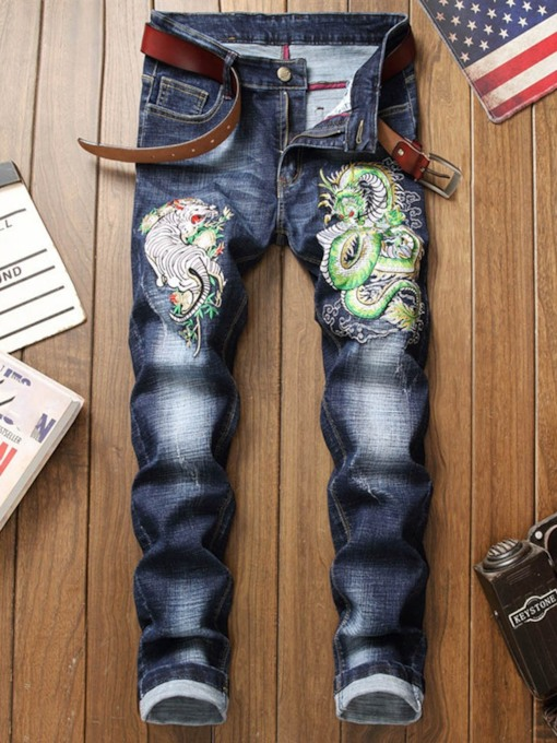 Straight Embroidery Mid Waist Men's Jeans