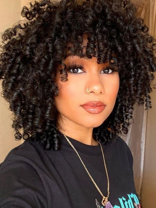 African American Women's Medium Curly Human Hair Capless Wigs With Bangs 16Inch