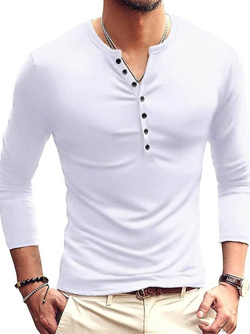 European Plain Long Sleeve Men's T-shirt