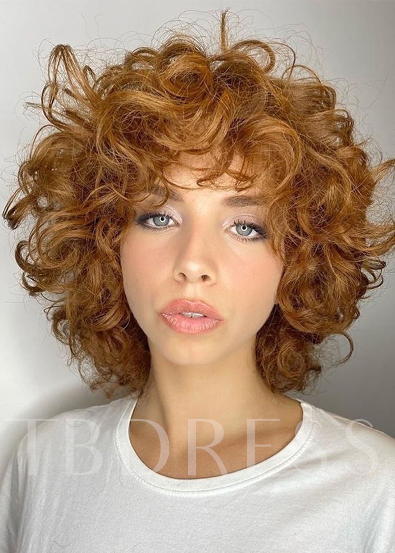 Big Curly Hairstyle Women's Natural Looking Curly Human Hair Capless Wigs 14Inch