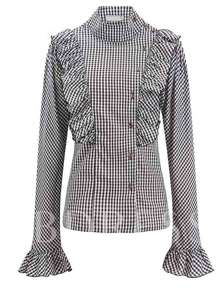 Turtleneck Regular Plaid Falbala Long Sleeve Women's Blouse