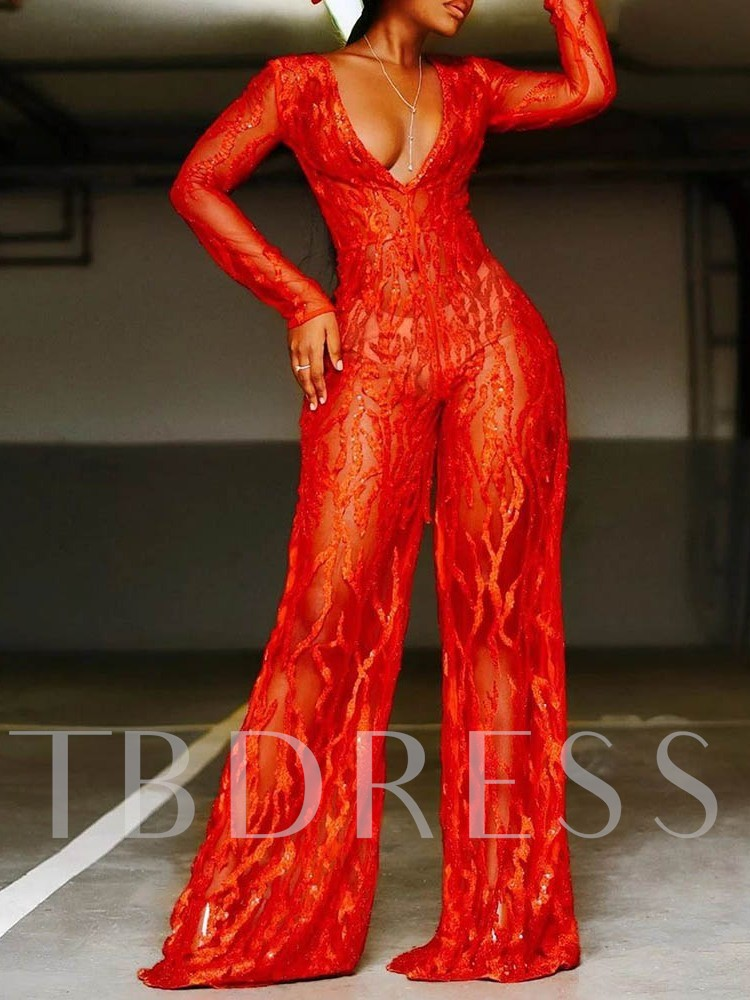 Sexy Full Length See-Through Mid Waist Women's Jumpsuit