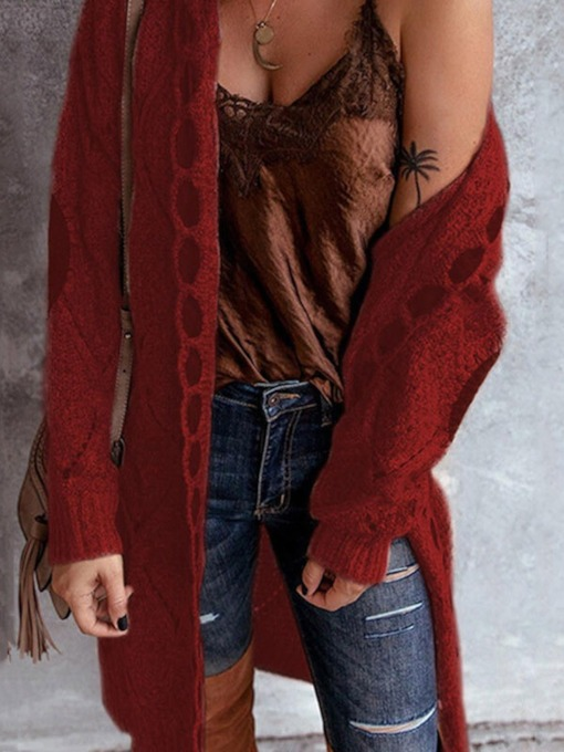 Thin Regular Patchwork Hooded Women's Sweater Cardigan