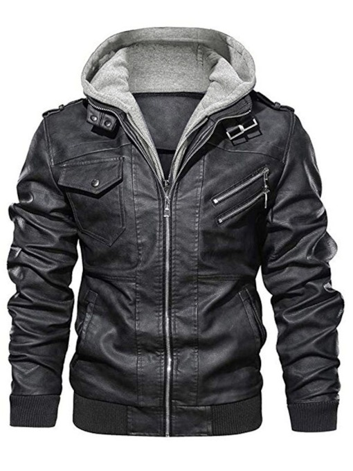 Hooded Plain Standard Patchwork Men's Leather Jacket