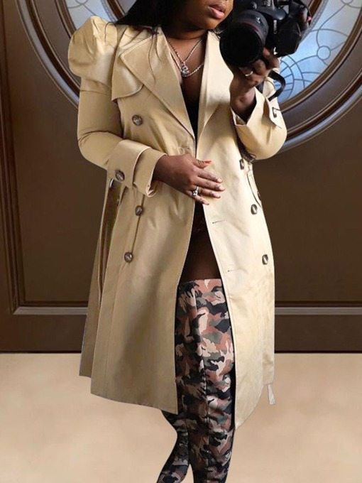 Double-Breasted Button Long Lapel Straight Women's Trench Coat
