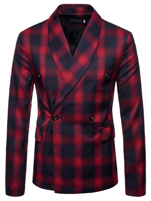 Double-Breasted Slim Plaid Casual Men's Leisure Blazer