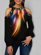 Straight Sequins Long Sleeves Women's T-Shirt
