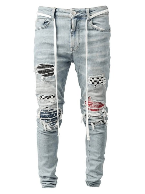 Plaid Pencil Pants Hole Hip Hop Men's Jeans