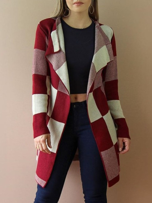 Thin Regular Patchwork Mid-Length Women's Sweater Cardigan
