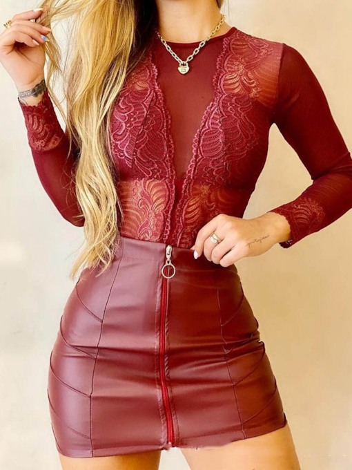 Floral Lace Sexy Skirt Round Neck Women's Two Piece Sets
