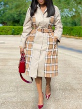 Long Lapel Patchwork Lace-Up Long Sleeve Women's Trench Coat