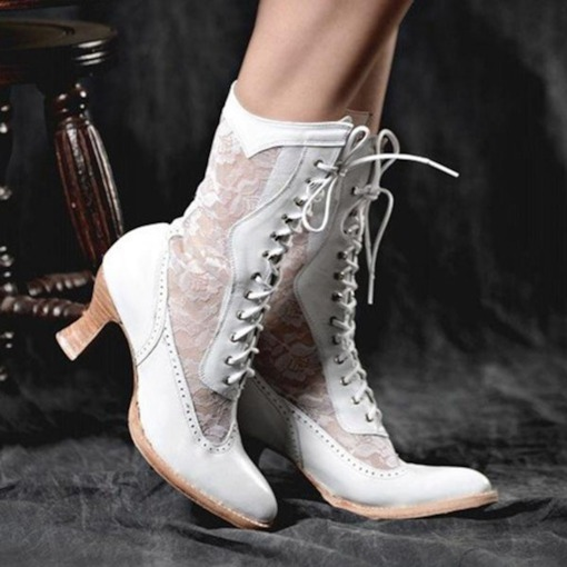 Lace-Up Front Pointed Toe Patchwork Thread Boots