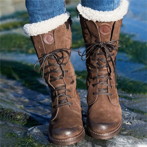 Patchwork Block Heel Lace-Up Front Round Toe Thread Boots
