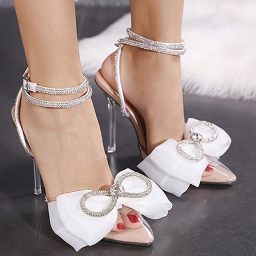 Line-Style Buckle Pointed Toe Stiletto Heel Bow Sandals