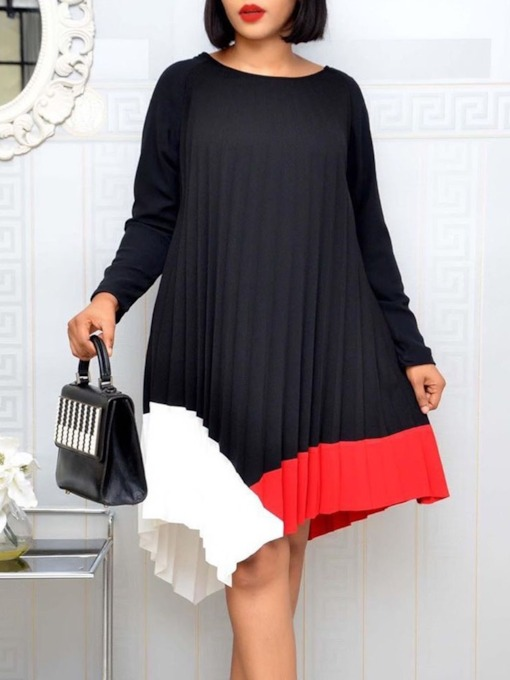 Long Sleeve Round Neck Mid-Calf Patchwork A-Line Women's Dress