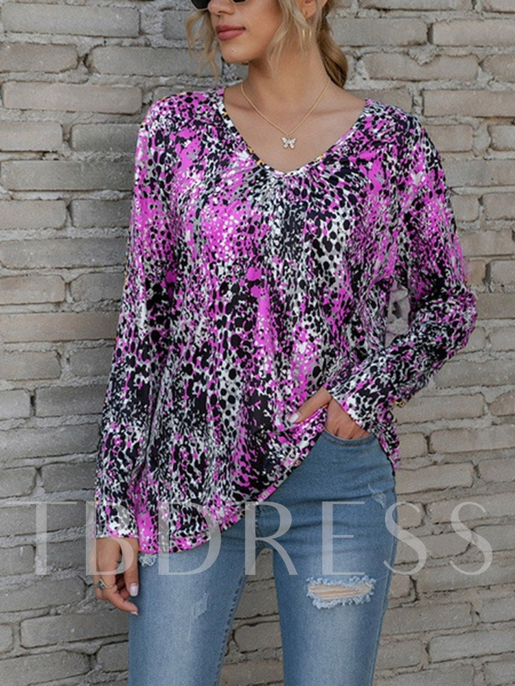V-Neck Long Sleeve Floral Mid-Length Summer Women's T-Shirt