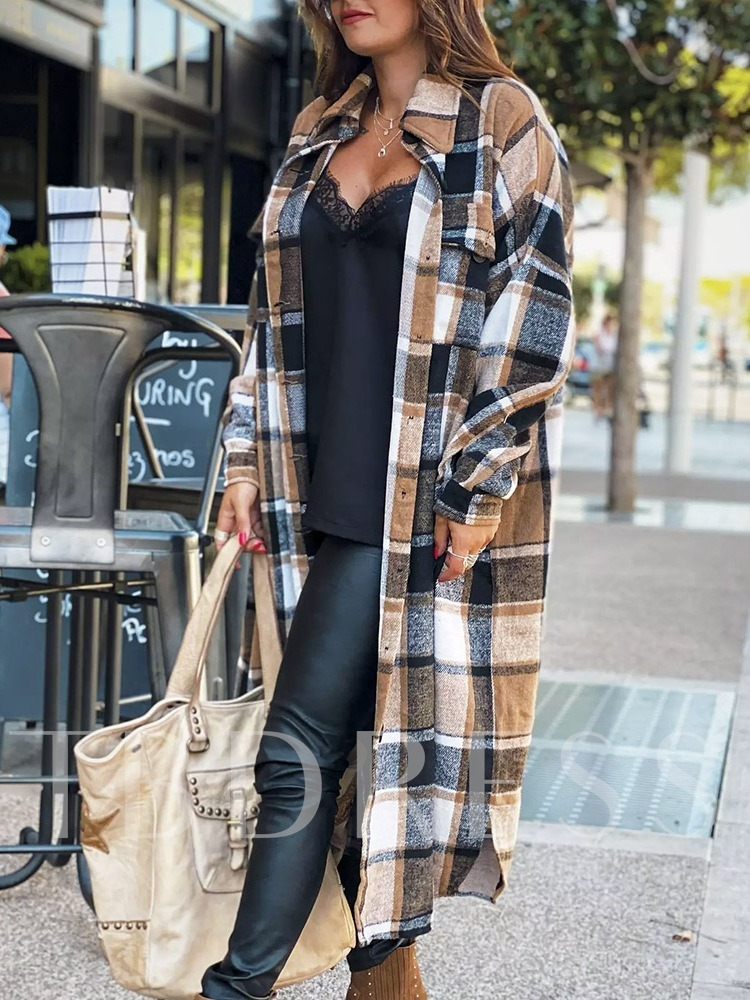 Straight Single-Breasted Button Fall Women's Overcoat