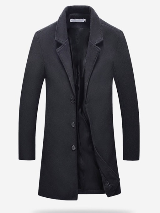 Lapel Plain Mid-Length Casual Slim Men's Coat