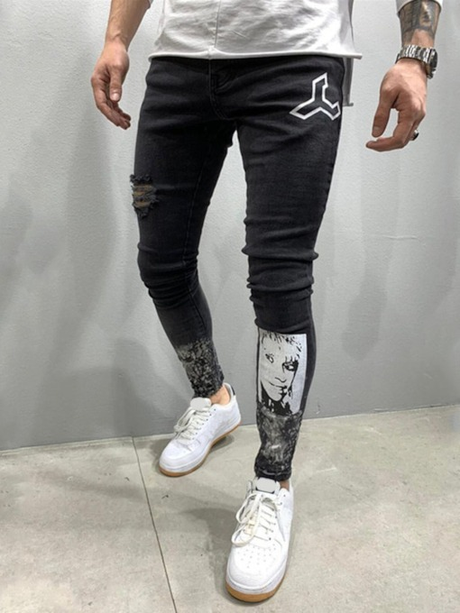 Pencil Pants Print Mid Waist Men's Jeans