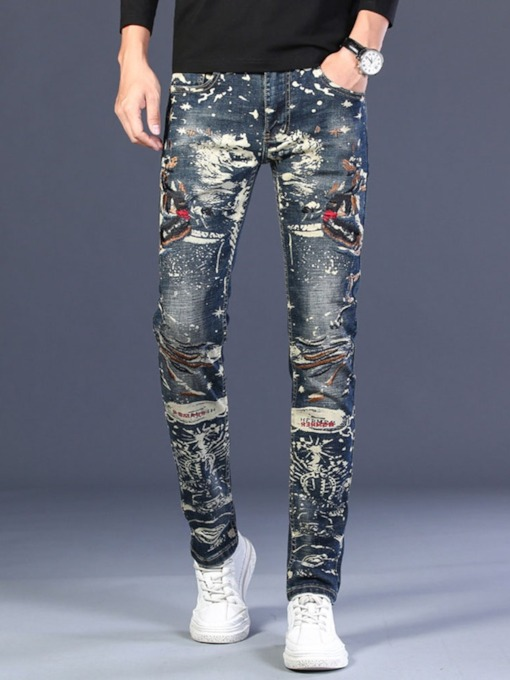Letter Print Slim European Men's Jeans