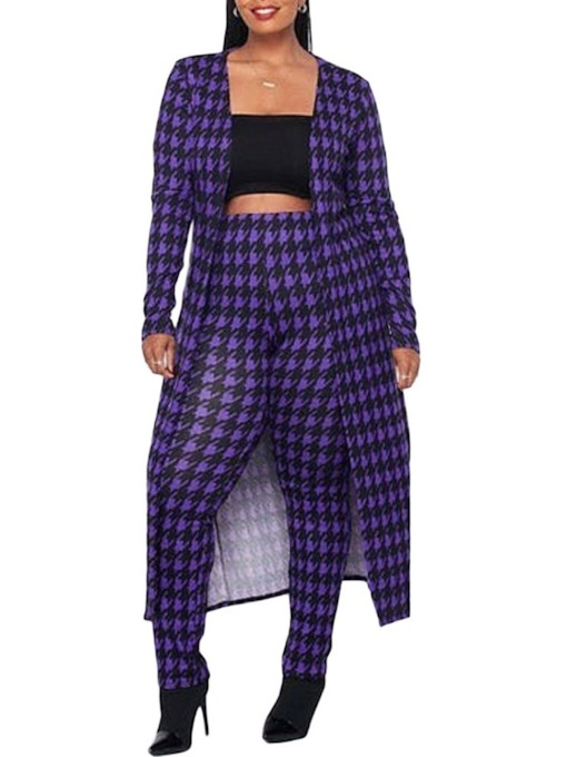 Houndstooth Casual Pants Print Pencil Pants Women's Two Piece Sets