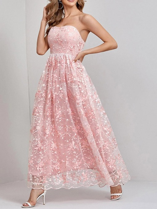 Embroidery Floor-Length Sleeveless Plain Women's Dress