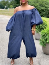 Full Length Fashion Pleated Plain High Waist Women's Jumpsuit