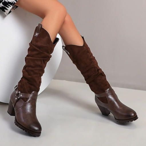 Round Toe Chunky Heel Slip-On Patchwork Short Floss Boots
