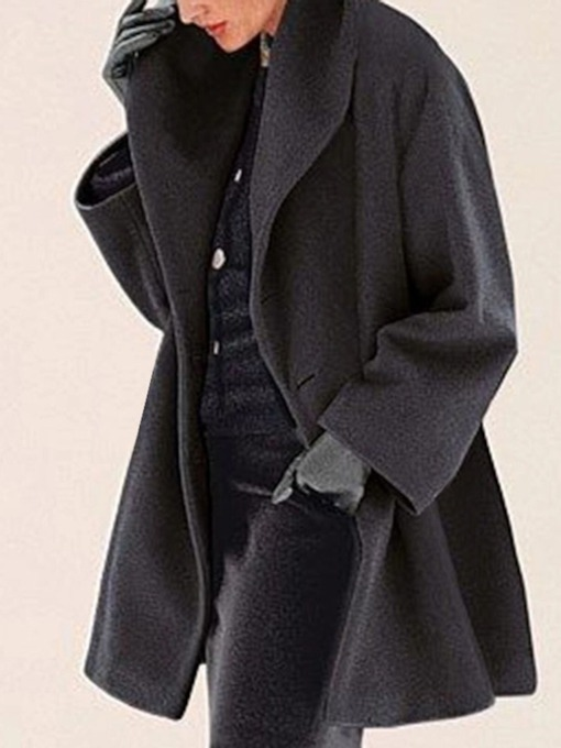 One Button Loose Button Mid-Length Women's Overcoat