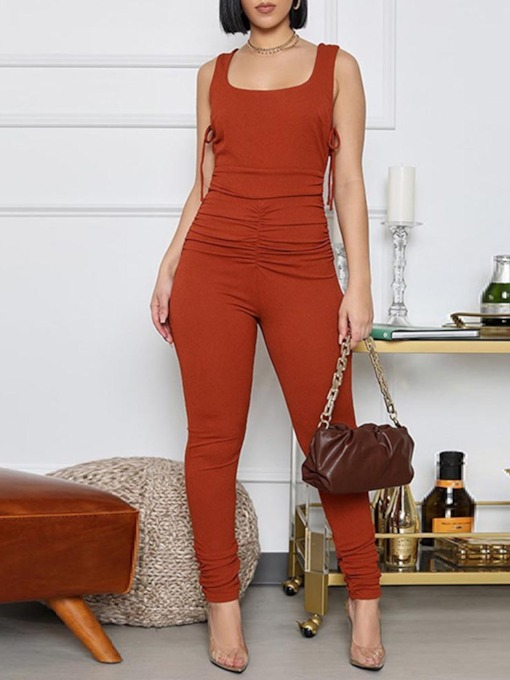 Plain Lace-Up Sexy Full Length Skinny Women's Jumpsuit
