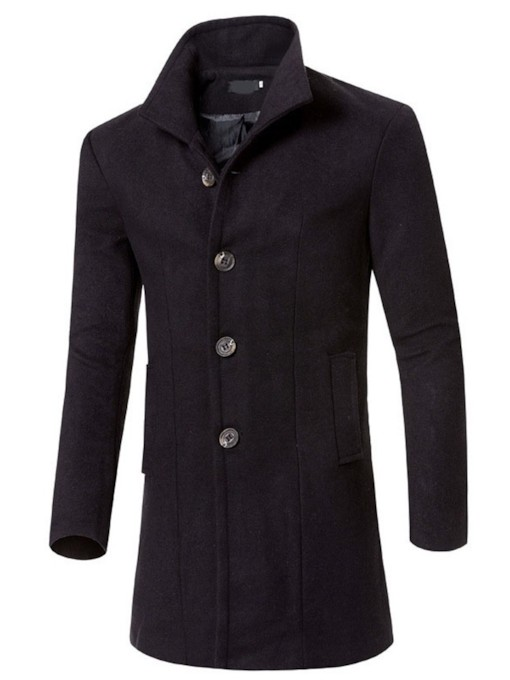 Mid-Length Plain Fall Men's Coat