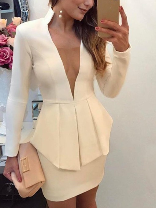 Shirt Sexy Plain Pleated Bodycon Women's Two Piece Sets