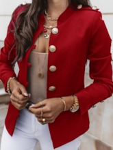 Stand Collar Long Sleeve Single-Breasted Plain Standard Women's Casual Blazer
