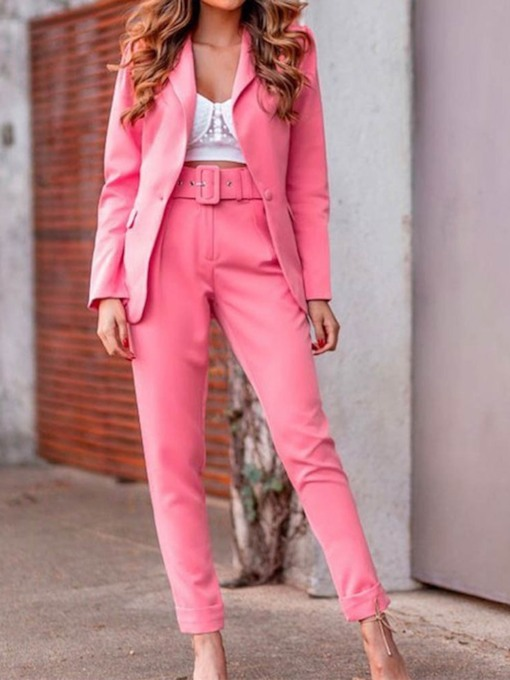 Pants Belt Long Sleeve Women's Suit